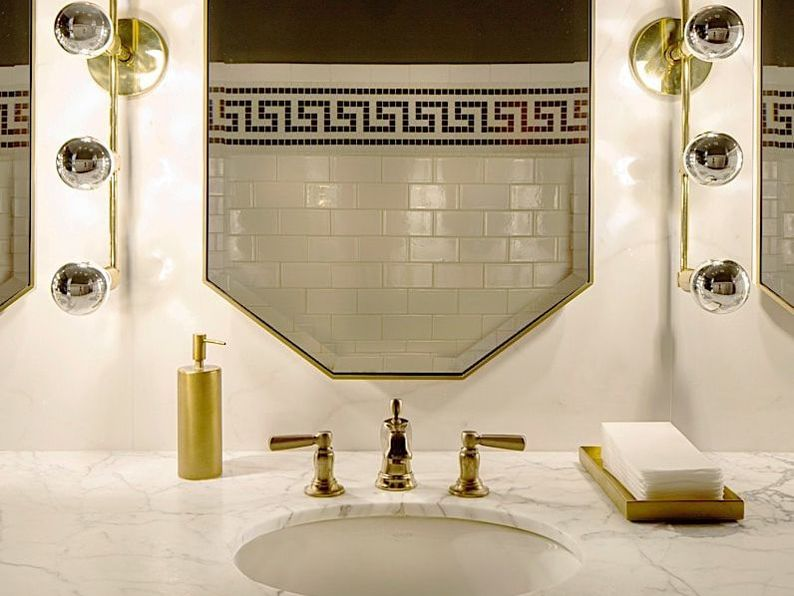 An art-deco inspired bathroom fixture